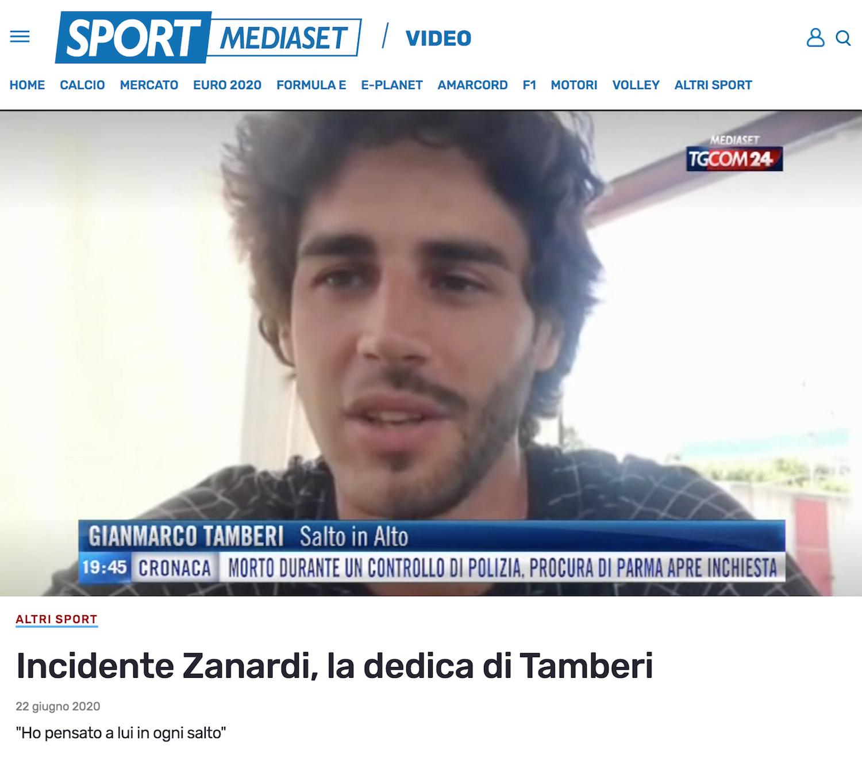 Incidente Zanardi, la dedica di Tamberi
