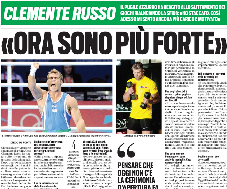 """""""ORA SONO PIU' FORTE"""", così Clemente Russo si presenta alle prossime Olimpiadi"""