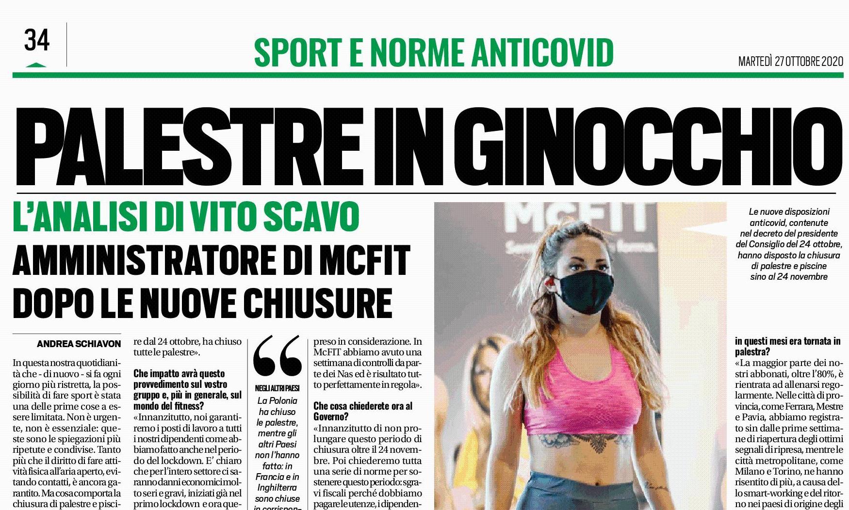 """""""Si poteva restare aperti in sicurezza"""", così Vito Scavo, AD di McFit Italia, a TuttoSport"""